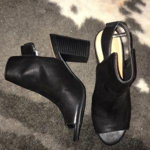 Black peep-toe booties